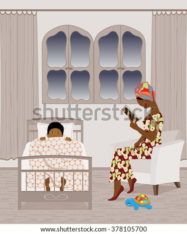 African mother reading a bedtime story to her son - stock vector