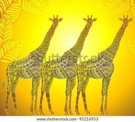 African nature in the ethnic style of hand-painted - stock vector