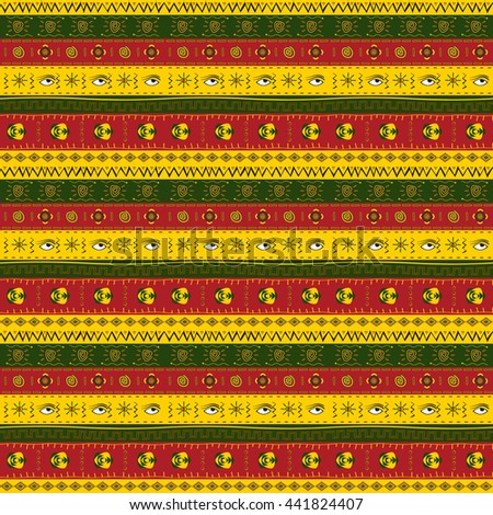 African ornament multicolored horizontal stripes