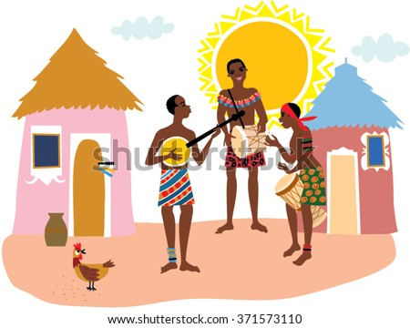 African Traditional Music Band Playing People Stock ...
