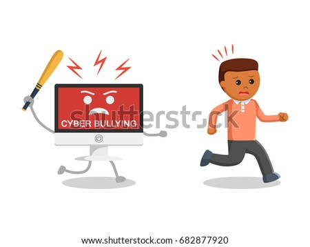 man run away cyber bullying black stock illustration 610689365 shutterstock. Black Bedroom Furniture Sets. Home Design Ideas