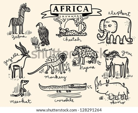 African savannah animal set - stock vector
