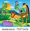 African scenery with animals 1 - vector illustration. - stock photo