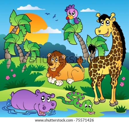 African scenery with animals 1 - vector illustration. - stock vector