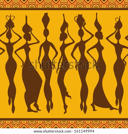 African seamless pattern with slim beautiful woman silhouettes - stock vector