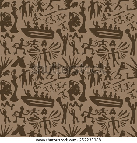African seamless vector pattern, ancient tribal background,  - stock vector