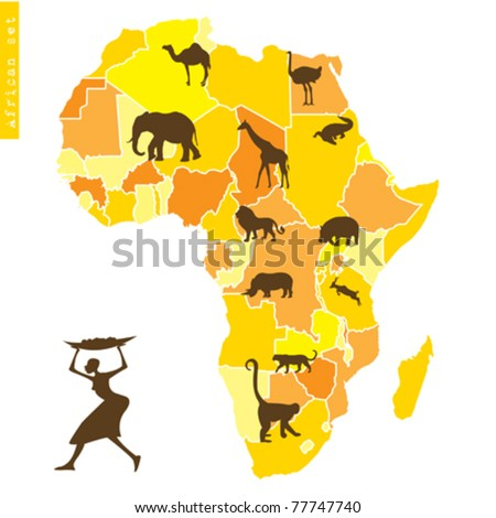 African set with map and animals - stock vector