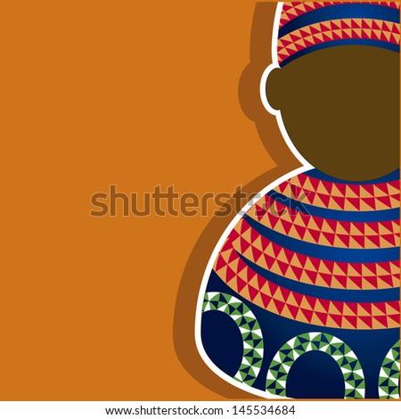 African skyline dressed in suit in orange blue geometric figures. - stock vector