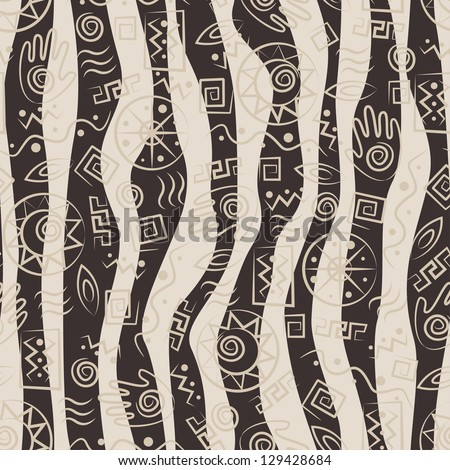 African style seamless pattern with  ancient tribal symbols of waves background - stock vector
