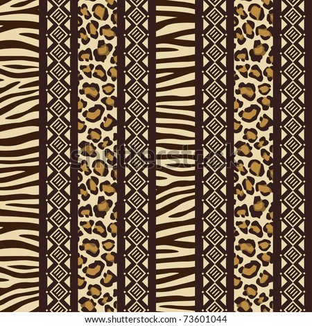African style seamless pattern with wild animals skins - stock vector