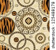 African style seamless with tiger skin pattern - stock photo