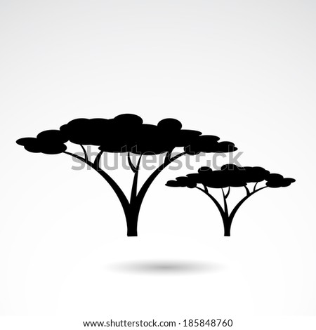 African tree icon isolated on white background. VECTOR illustration. - stock vector