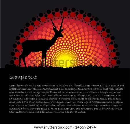 African tribal art vector background with a Antelope silhouette