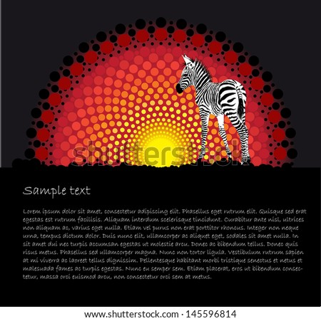 African tribal art vector background with a zebra