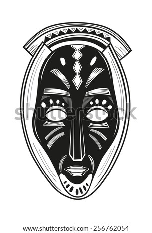 African tribal mask design with ethnic pattern - stock vector