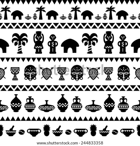 African Tribal Seamless Pattern. Ethnic ornament with different elements. Vector design for prints, backgrounds, textile - stock vector