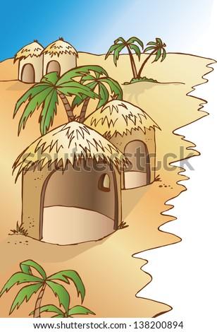 African village - stock vector