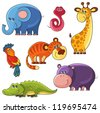 African wild animals set. Elephant, snake, giraffe, hippo, tiger, parrot. Collection of cartoon isolated characters - stock