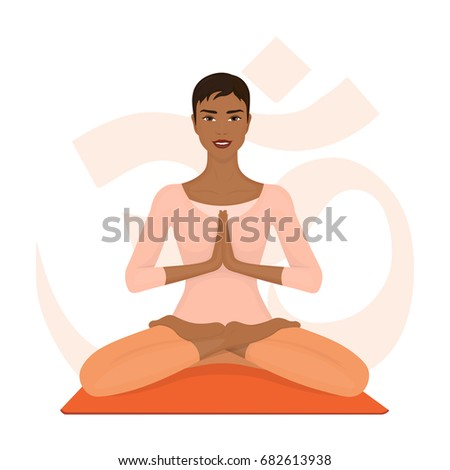 African woman meditating in lotus pose. Girl with crossed legs. Yoga, sport and fitness. Vector illustration