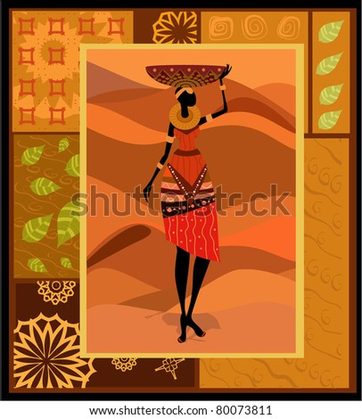 African woman ornament - stock vector