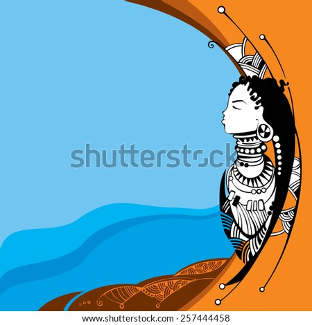 African woman silhouette on an orange background - stock vector