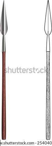 African Zulu assegai spear - stock vector