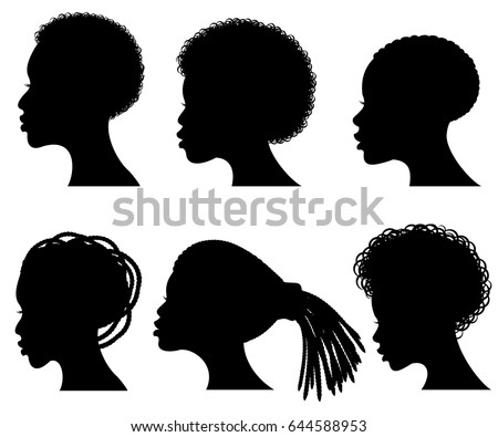 afro american young woman face vector black silhouettes
