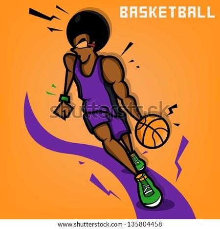 Afro Basketball Player - stock vector