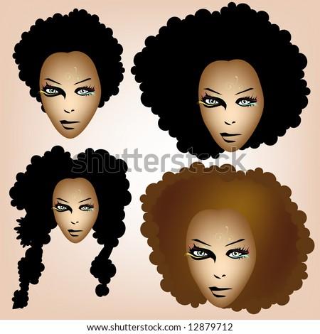 afro girl - stock vector