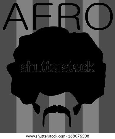 afro graphic design with man and seventies style mustache and sideburns - stock vector