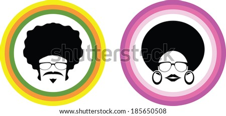 afro man and woman symbol vector - stock vector