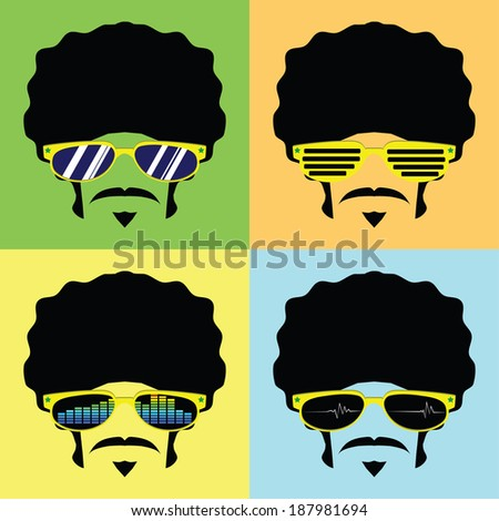 afro man with several design glasses vector - stock vector