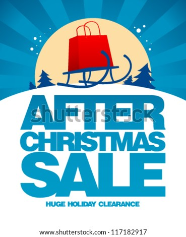 After christmas sale design template with shopping bag on a sled.