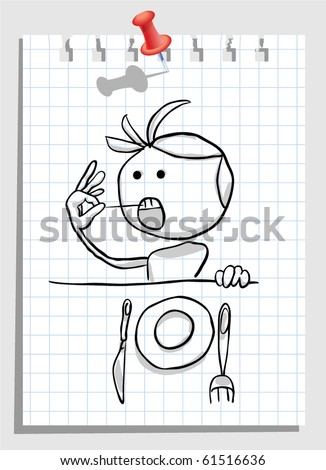 after dinner with toothpick - stock vector