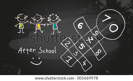 After school activities, kids playing program. Chalk on blackboard vector concept doodle style hand drawn illustration.  - stock vector