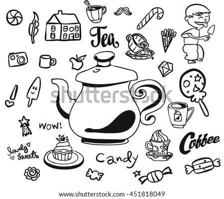 Afternoon Tea Breakfast Doodles Symbols Kids Stock Vector 451818049
