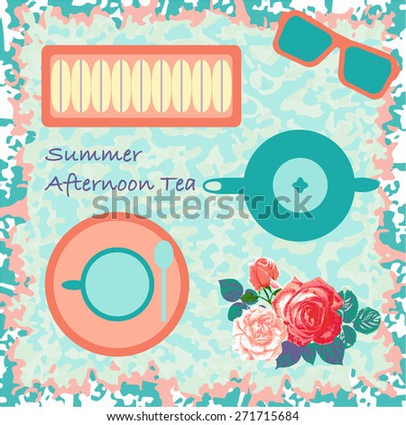 Afternoon tea in the summer countryside?vector - stock vector