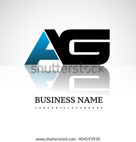 AG company linked letter logo icon blue and black - stock vector