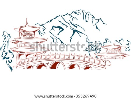 Against the backdrop of the mountains - the bridge that connects the two oriental temple