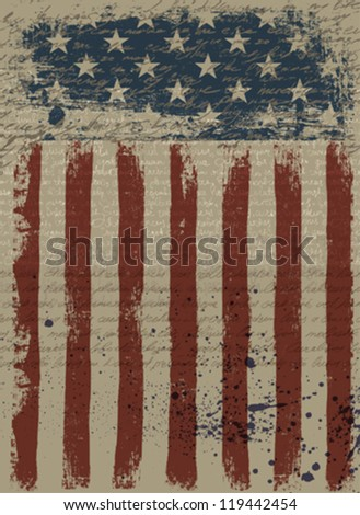 Aged American Patriotic Background. Vector illustration, EPS10. - stock vector