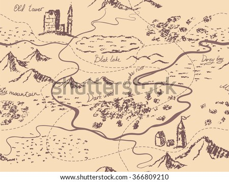 Aged fantasy vintage seamless map with mountains, buildings, trees, hills, river. Hand drawn fairytale historic treasure map. Seamless background, vector. - stock vector