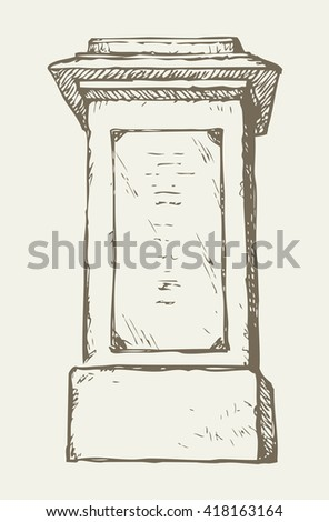 Aged granite greek carved pylon block plinth ornate base isolated on white backdrop with space for text. Freehand outline ink hand drawn symbol sketch in doodle style pen on paper - stock vector