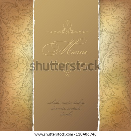 Aged menu template. Vector illustration, EPS10 - stock vector