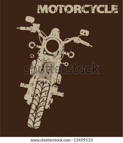 Aged Motorcycle Silhouette - stock vector