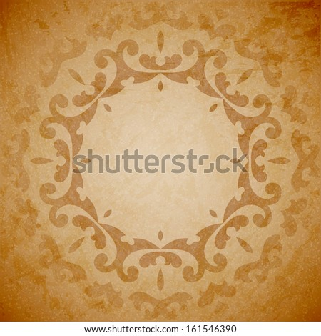 Aged paper background with round seamless ornament - stock vector