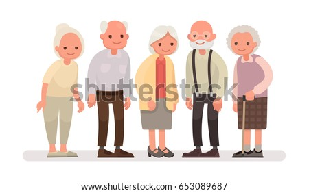Aged people. Grandparents on a white background. Vector illustration in a flat style
