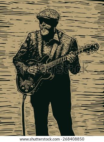 aged rock guitarist, linocut style. vector illustration - stock vector