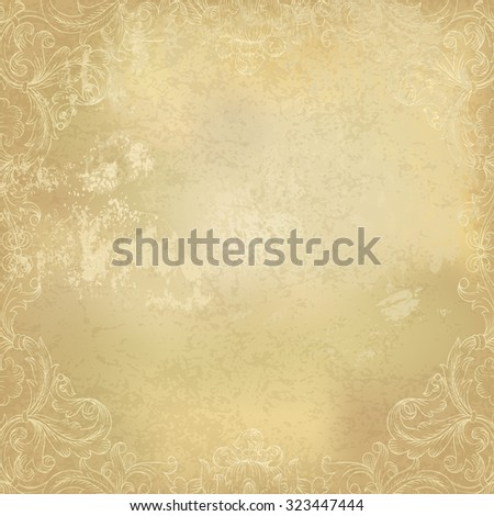 Aged vintage ornamental old paper background. Vector illustration - stock vector