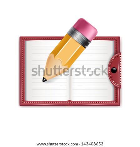 agenda and pencil isolated on white