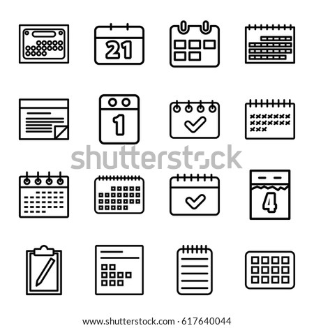 Agenda Icons Set. Set Of 16 Agenda Outline Icons Such As Calendar, Notebook,  Agenda Outline